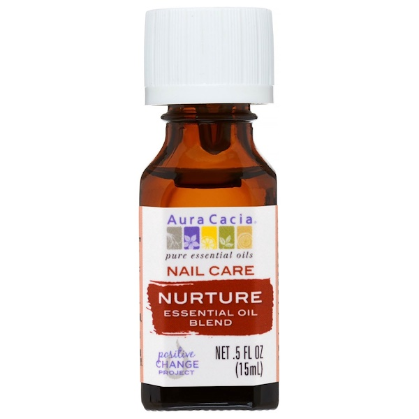 Aura Cacia, Nail Care, Essential Oil Blend, Nurture, .5 fl oz (15 ml) (Discontinued Item)
