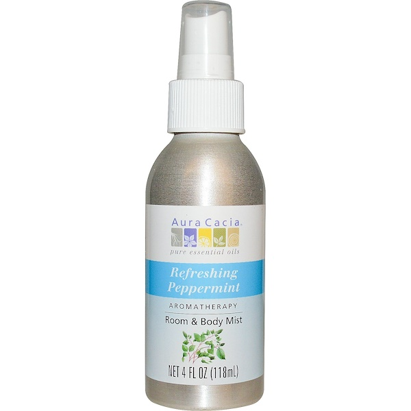 Aura Cacia, Room & Body Mist, Refreshing Peppermint, 4 fl oz (118 ml)