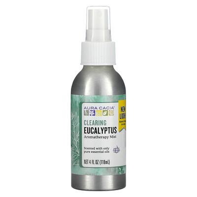 Aura Cacia Aromatherapy Mist, Clearing Eucalyptus, 4 fl oz (118 ml)