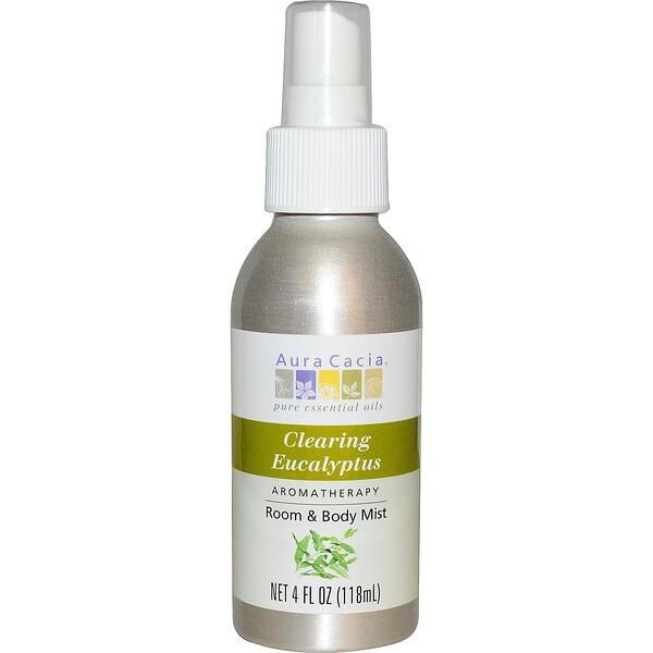 Aura Cacia, Room & Body Mist, Clearing Eucalyptus, 4 fl oz (118 ml) (Discontinued Item)