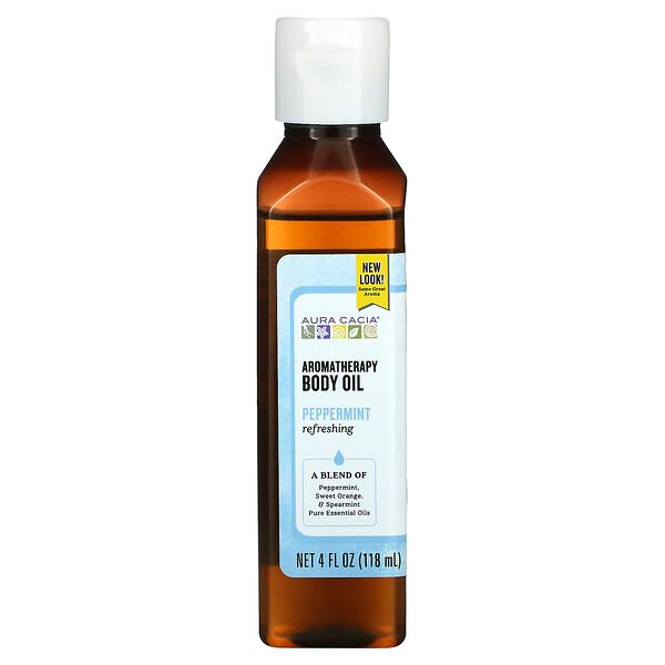 Aromatherapy Body Oil, Peppermint, 4 fl oz (118 ml)