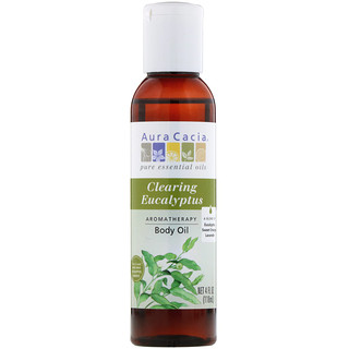 Aura Cacia, Aromatherapy Body Oil, Clearing Eucalyptus, 4 fl oz (118 ml)