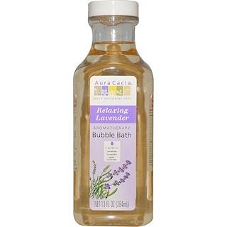 Aura Cacia, アロマセラピーバブルバス, リラックスのラベンダー, 13 液量オンス (384 ml)