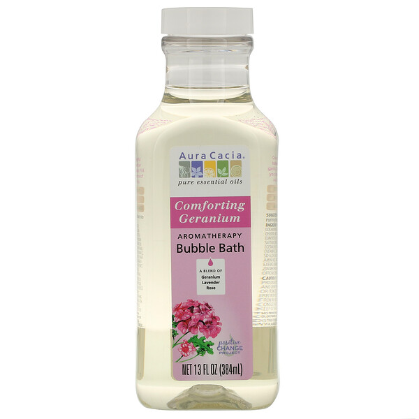 Aura Cacia, Aromatherapy Bubble Bath, Comforting Geranium, 13 fl oz (384 ml)