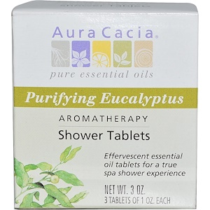 Аура Кация, Aromatherapy Shower Tablets, Purifying Eucalyptus, 3 Tablets, 1 oz Each отзывы