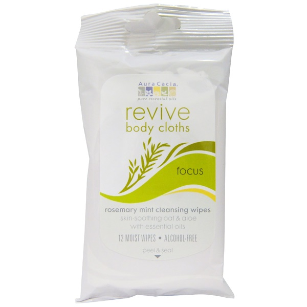 Aura Cacia, Revive, Body Cloths, Focus, Rosemary Mint Cleansing Wipes, 12 Moist Wipes (Discontinued Item)
