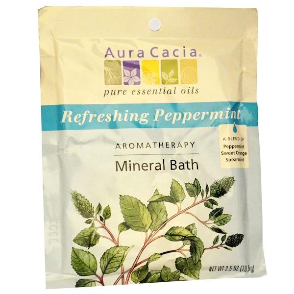 Aura Cacia, 芳香礦泉浴,清爽薄荷,2、5盎司(70、9克)