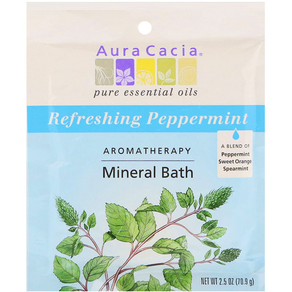 Aura Cacia, Aromatherapy Mineral Bath, Refreshing Peppermint , 2.5 oz (70.9 g) (Discontinued Item)