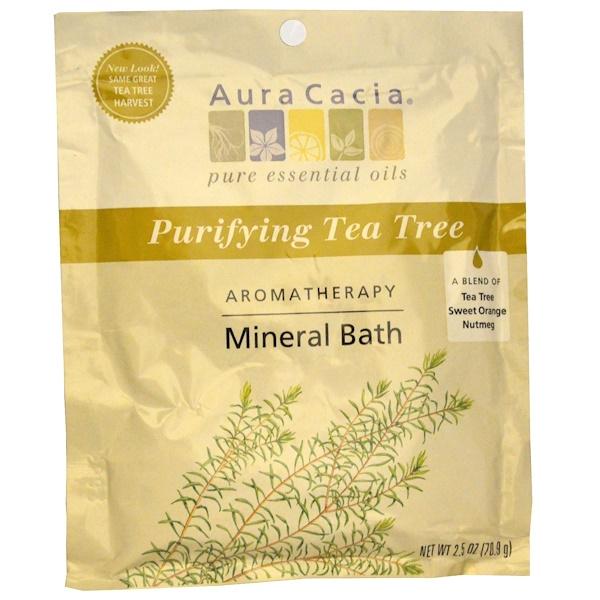 Aura Cacia, Ароматерапевтическое минеральное средство для ванны, очищающее чайное дерево, 2,5 унции (70,9 г) (Discontinued Item)