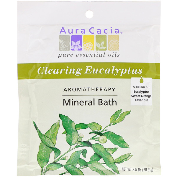 Aura Cacia, Aromatherapy Mineral Bath, Clearing Eucalyptus, 2.5 oz (70.9 g)
