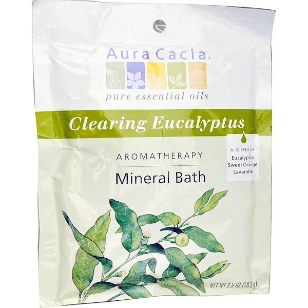 洗浴及美容浴鹽:Aura Cacia, 香薰礦泉水,清澈桉樹,2、5盎司(70、9克)