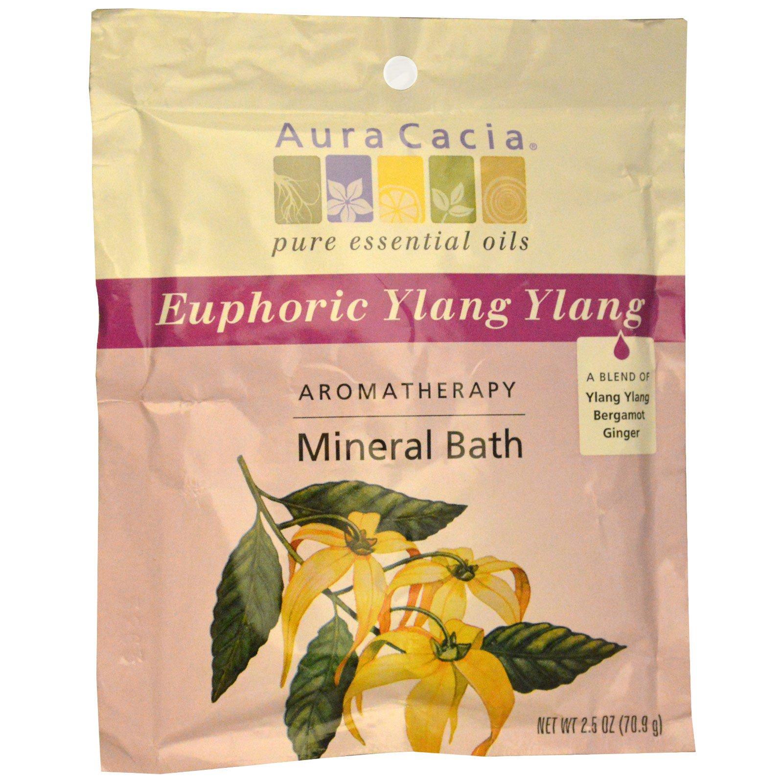 Aura Cacia, Ароматерапевтическая минеральная ванна, Euphoric Ylang Ylang, 70.9 г