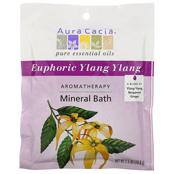 Aura Cacia, 아로마 테라피 미네랄 배스(Aromatherapy Mineral Bath), 유포릭 일랑일랑(Euphoric Ylang Ylang), 2.5 oz (70.9 g)
