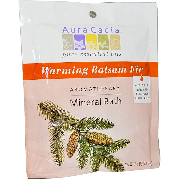 Aura Cacia, Ароматерапевтическое минеральное средство для ванны, согревающая бальзамическая пихта, 2,5 унции (70,9 г)