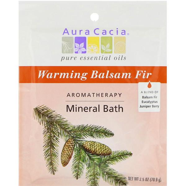 Aura Cacia, Baño mineral de aromaterapia, calentamiento, bálsamo de abeto, 2,5 onzas (70,9)