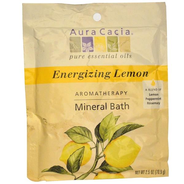 Aura Cacia, 芳香療法礦泉浴,賦活檸檬,2、5盎司(70、9克)