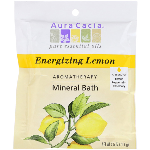 Aura Cacia, Aromatherapy Mineral Bath, Energizing Lemon, 2.5 oz (70.9 g) (Discontinued Item)