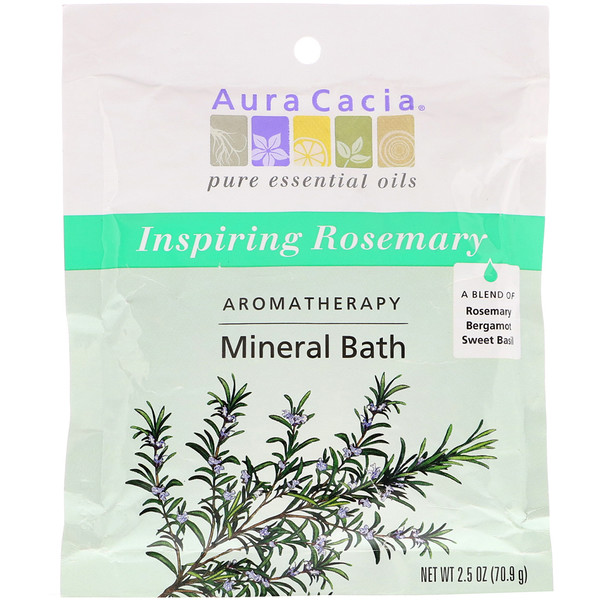 Aura Cacia, Aromatherapy Mineral Bath, Inspiring Rosemary, 2.5 oz (70.9 g) (Discontinued Item)