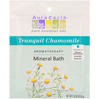 Aura Cacia, アロマセラピー ミネラルバス、 トランキールカモミール、 2.5 oz (70.9 g)