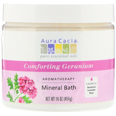 Ароматерапевтическое средство для ванны с минералами, успокаивающая герань, 16 унций (454 г)