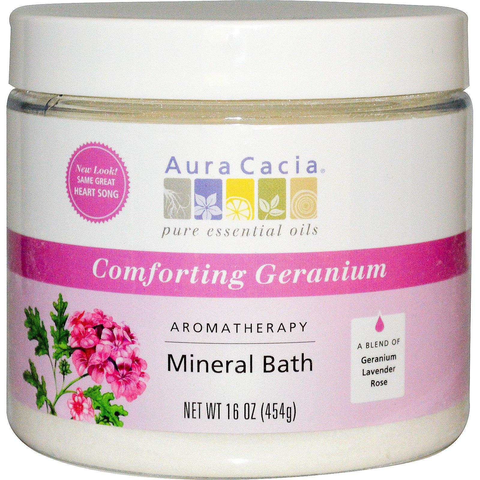 Aura Cacia, Ароматерапевтическое средство для ванны с минералами, успокаивающая герань, 16 унций (454 г)