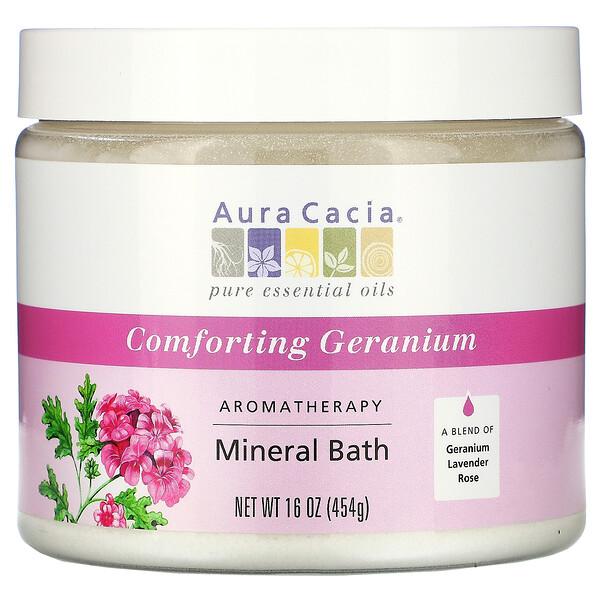 Aura Cacia, Bain Minéral AromaThérapie, Géranium Réconfortant, 16 oz (454 g)