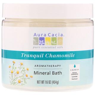 Aura Cacia, アロマテラピー・ミネラルバス、 トランクイルカモミール、 16オンス (454 g)