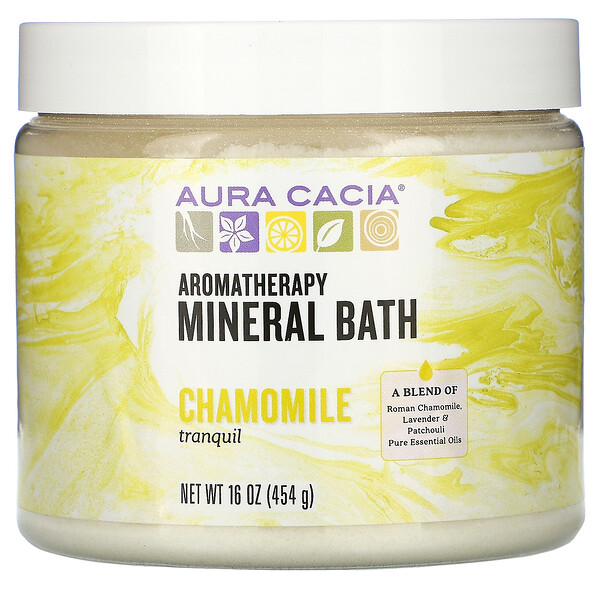 Aura Cacia, Aromatherapy Mineral Bath, Tranquil Chamomile, 16 oz (454 g)