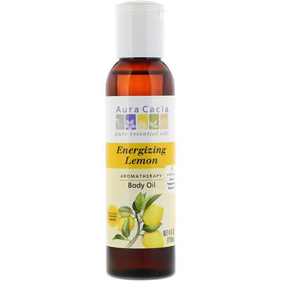 Ароматерапевтическое масло для тела, бодрящий лимон, 4 жидких унции (118 мл) theraneem organix кондиционер для кожи головы neem лимон и мята 12 жидких унции 360 мл