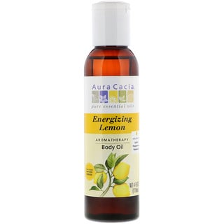 Aura Cacia, Aromatherapy Body Oil, Energizing Lemon, 4 fl oz (118 ml)