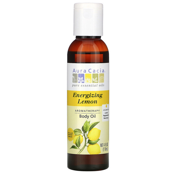 Aura Cacia, Aromatherapy Body Oil, Energizing Lemon, 4 fl oz (118 ml) (Discontinued Item)