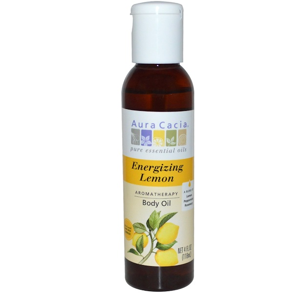 Aura Cacia, Ароматерапевтическое масло для тела, бодрящий лимон, 4 жидких унции (118 мл)