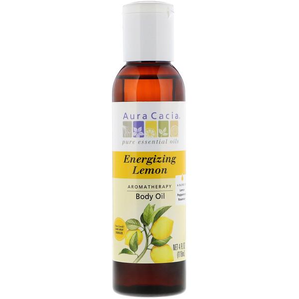 Aromatherapy Body Oil, Energizing Lemon, 4 fl oz (118 ml)