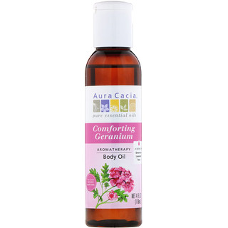 Aura Cacia, Aromatherapy Body Oil, Comforting Geranium, 4 fl oz (118 ml)