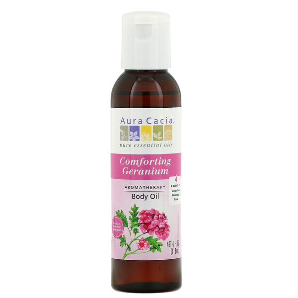 Aromatherapy Body Oil, Comforting Geranium, 4 fl oz (118 ml)