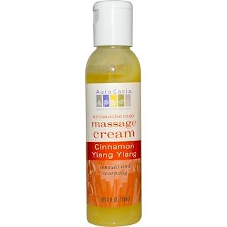 Aura Cacia, Aromatherapy Massage Cream,  Sensual Cinnamon & Ylang Ylang, 4 fl oz (118 ml)