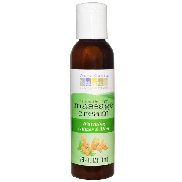 Aura Cacia, Aromatherapy Massage Cream, Warming Ginger & Mint, 4 fl oz (118 ml) (Discontinued Item)