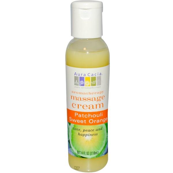 Aura Cacia, Aromatherapy Massage Cream, Peaceful Patchouli Sweet Orange, 4 fl oz (118 ml) (Discontinued Item)