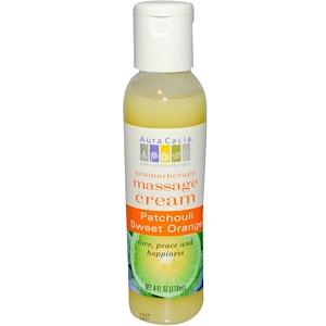 Аура Кация, Aromatherapy Massage Cream, Peaceful Patchouli Sweet Orange, 4 fl oz (118 ml) отзывы
