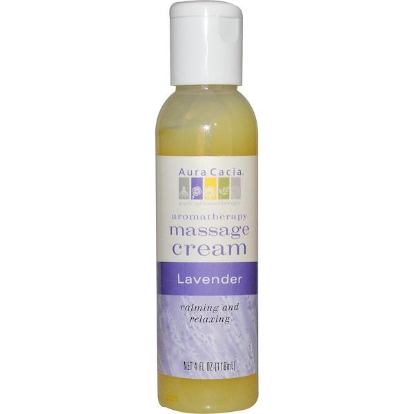 Aura Cacia, Aromatherapy Massage Cream, Lavender, 4 fl oz (118 ml) (Discontinued Item)