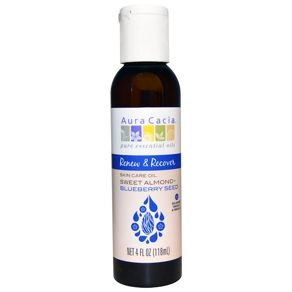 Aura Cacia, Renew & Recover, Skin Care Oil, Sweet Almond + Blueberry Seed, 4 fl oz (118 ml) (Discontinued Item)