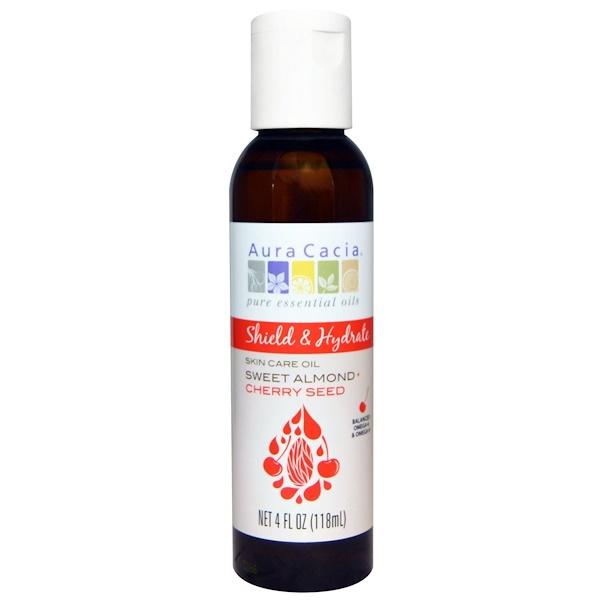 Aura Cacia, Shield & Hydrate, Skin Care Oil, Sweet Almond + Cherry Seed, 4 fl oz (118 ml) (Discontinued Item)