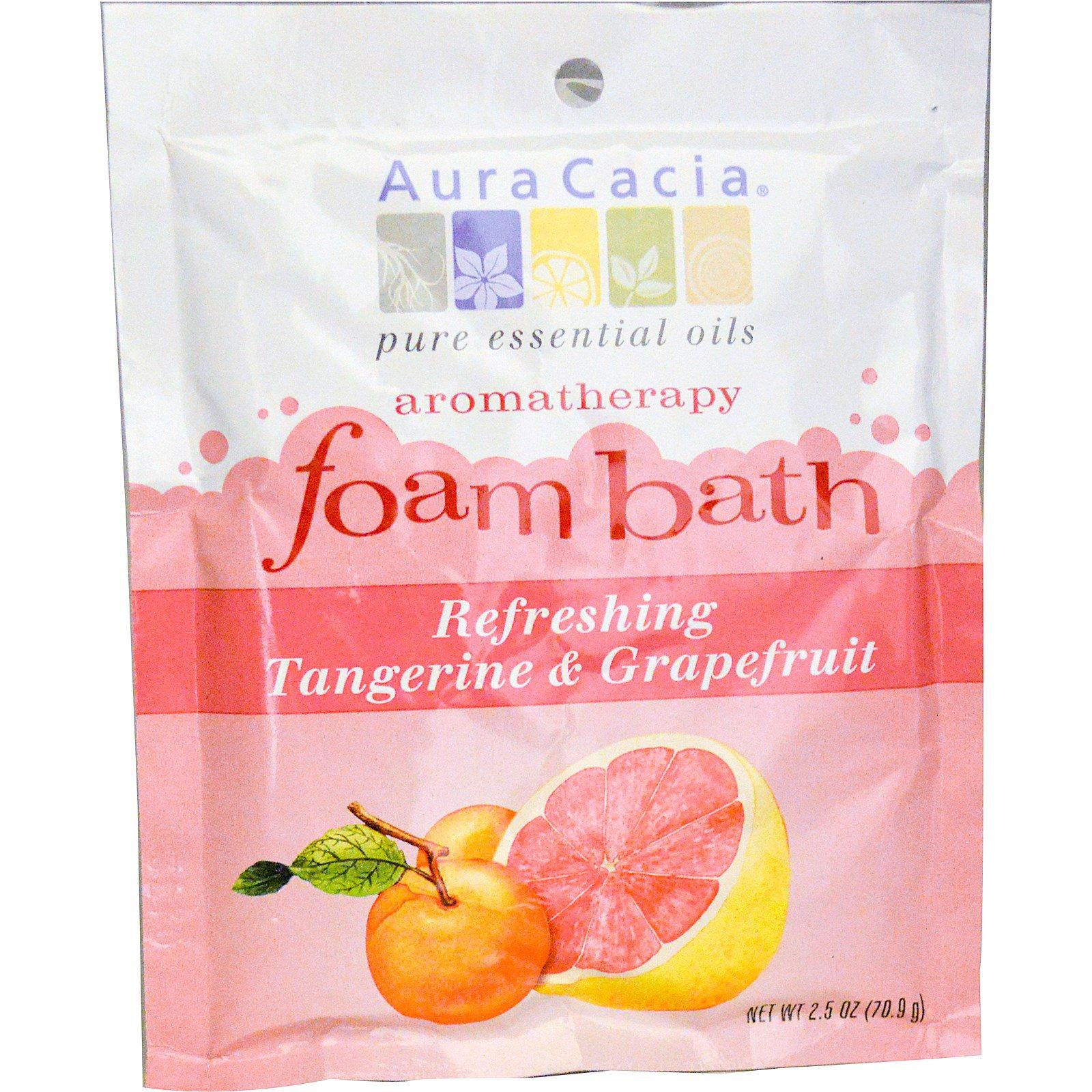 Aura Cacia, Пена-ароматерапия для ванн, освежающий мандарин и грейпфрут 2.5 унции (70.9 г)