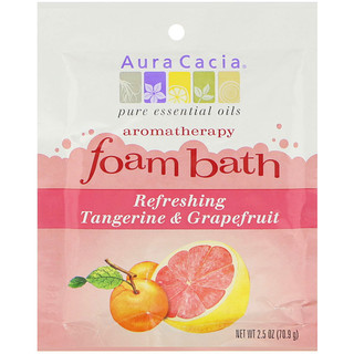 Aura Cacia, Aromatherapy Foam Bath, Refreshing Tangerine & Grapefruit, 2.5 oz (70.9 g)