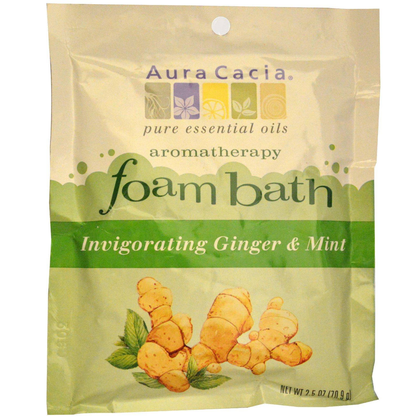 Aura Cacia, Ароматерапическая пена для ванны, бодрящий имбирь и мята 2.5 унции (70.9 г)
