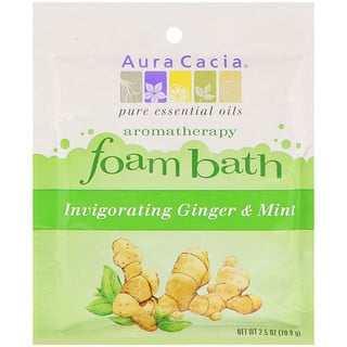 Aura Cacia, Aromatherapy Foam Bath, Invigorating Ginger & Mint, 2.5 oz (70.9 g)