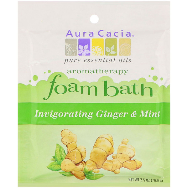 Aura Cacia, Aromatherapy Foam Bath, Invigorating Ginger & Mint, 2.5 oz (70.9 g) (Discontinued Item)