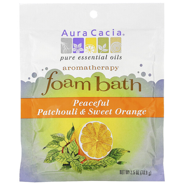 Aura Cacia, Aromatherapy Foam Bath, Peaceful Patchouli & Sweet Orange, 2.5 oz (70.9 g) (Discontinued Item)