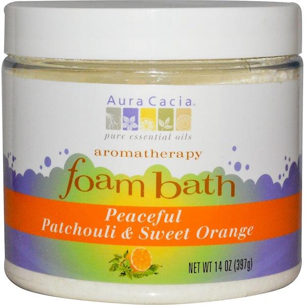 Aura Cacia, Пена для ванн Ароматерапия, пачули / Сладкий апельсин 14 унции (397 г) (Discontinued Item)