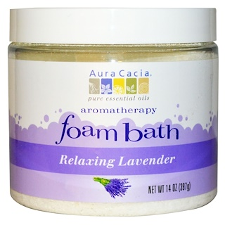 Aura Cacia, Aromatherapy Foam Bath, Relaxing Lavender, 14 oz (397 g)